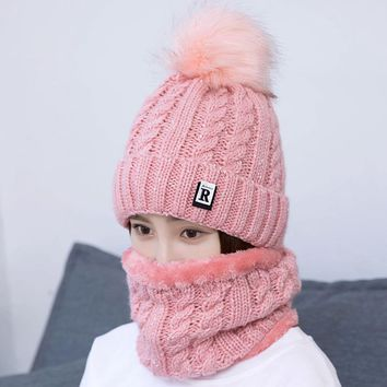 Winter brunette knitted double warm hat sweat thicker young collar sets with wool ball plush  neck scarf strip beanies girls cap