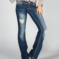 Almost Famous Womens Destructed Bootcut Jeans Medium Blast  In Sizes