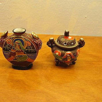 TWO MINIATURE MORIAGE CABINET VASES VINTAGE