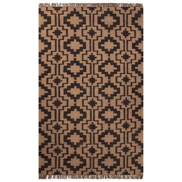 Flatweave Tribal Pattern Black/Tan Jute Area Rug (2x3)