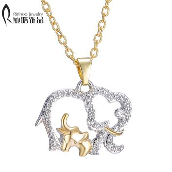 Fashion Alloy Jewelry for family mother gift Hot Gold Silver Plated Crystal Animal Big Elephant with Baby Pendant necklace