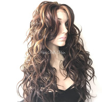 Messy Wavy Brunette Balayage' Short Bob Human Hair Blend Multi Parting Lace Front Wig - Kelie