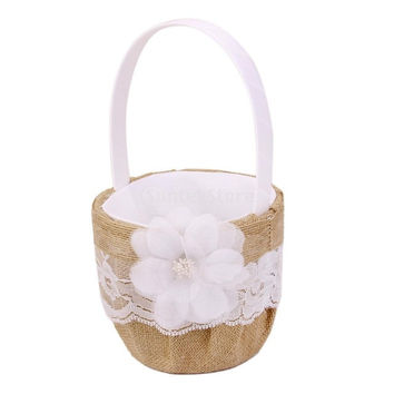 Hessian Burlap Wedding Flower Girl Basket Lace Flower Decor
