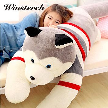 50cm 40cm Lovely Lifelike Siberian Husky Dog Plush Stuffed Animal Toys