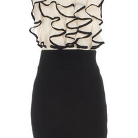 Cream/black 2in1 ruffle dress - Dresses  - Clothing  - Dorothy Perkins