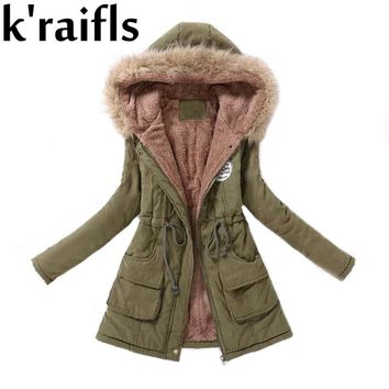 k'raifls Warm Parkas Women Coat Fashion Autumn Winter Jacket Women Fur Collar Long Parka Plus Size Hoodies Casual Cotton Outwear