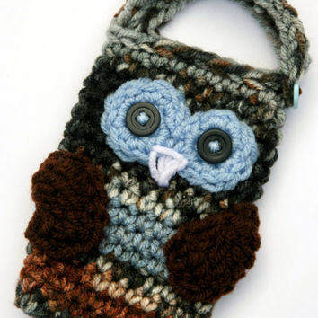 Crochet Owl Cell phone camera iPod holder case by scraptrapped