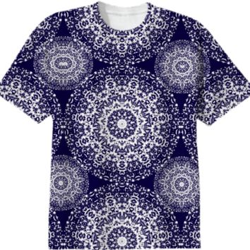 Navy blue And White Pretty Floral Lacy Patterned Summer Tee Shirt Top created by Pasion4Fashion | Print All Over Me