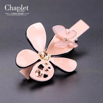 chaplet 2016 New High Quality Romantic Women Hair Accessories Lady Flower Hairpin Rhinestone Alligator Hair Clips Free Shipping