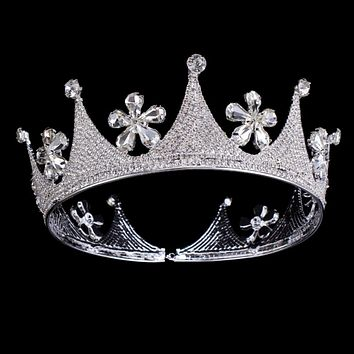 Full Crystal Rhinestone Flower Large Tiara Crown Bridal Pageant Women Hair Jewelry