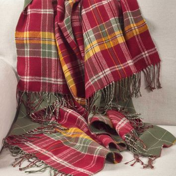 Alana Fringed Tartan Throw Blanket