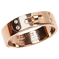 "Hermes ""Kelly"" Band Ring in 750/1000 Rose Gold and 4 Diamonds"