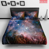Milky Way Nebula Space Galaxy Bedding sets Home & Living Wedding Gifts Wedding Idea Twin Full Queen King Quilt Cover Duvet Cover Flat Sheet Pillowcase Pillow Cover 010