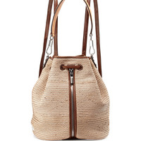 Cynnie Woven Drawstring Backpack, Natural - Elizabeth and James