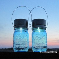 2 New Ball Solar Jars 100th Anniversary Mason Jar Solar Lights Heritage Collection Blue Pint Jars Hanging Outdoor Lanterns