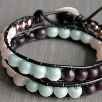 "Leather Wrap Bracelet // Mint Chocolate Beads // ""Chan Luu"" Inspired"