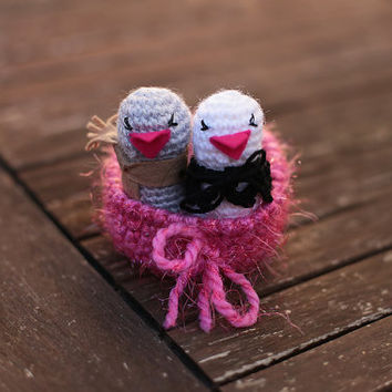 Crochet Birds Nest, Love Birds, Amigurumi Bird, Cute Bird Couple, Wedding Gift, Wedding Gifts for Couples, Bride and Groom, Nesting Bowl