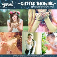 GLITTER BLOWING Photoshop Overlays 75 Pack, photoshop overlay, pixie dust, bokeh effect, glitter overlay,