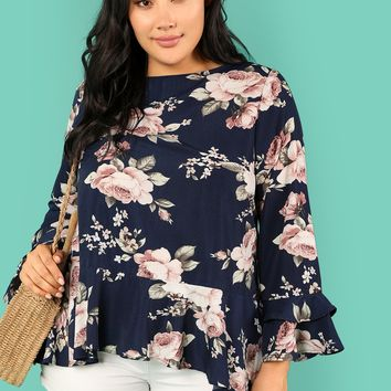 Plus Flower Print Ruffle Trim Blouse