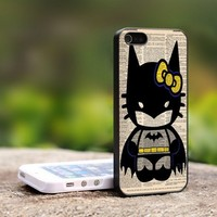 Hello Kitty Batman - For iPhone 4,4S Black Case Cover