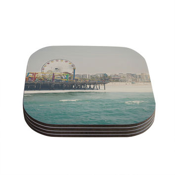 "Laura Evans ""The Pier at Santa Monica"" Coastal Teal Coasters (Set of 4)"
