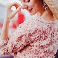 Light Pink Rose 3D Floral Swirl Sweat Shirt Long Sleeve Scoop Neck Blouse Pullover Top