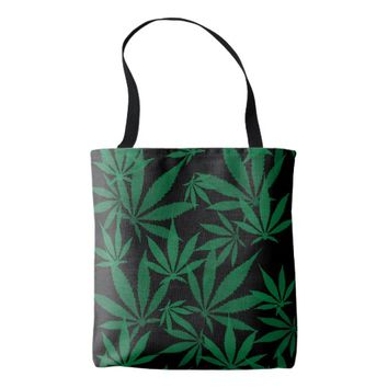 Ganja weed smoke pot black and green pattern tote bag