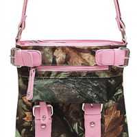Camouflage Print Belt Deco Messenger Bag in Light Pink