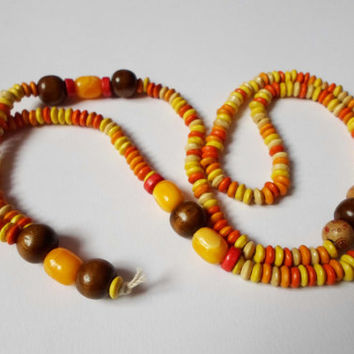 Boho Chic Necklace Yoga Hippie Jewelry, OOAK Orange Yellow  Wood Beads Long Necklace, Large Tibetian Buddhist  Hand Knotted Necklace