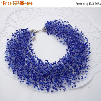 SALE Navy blue necklace Duke blue necklace air necklace multistrand necklce blue necklace