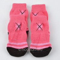 2 Pair/4Pcs Knitted Cotton Warm Walk Socks Non-Skid Foot Wear for Pets Dog Puppy Cat = 1929558596