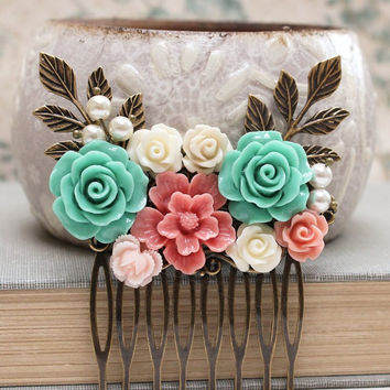 Flower Bridal Hair Comb Seafoam Teal Wedding Pink and Aqua Floral Hair Piece Romantic Bridesmaids Gifts Rose Hairpiece Vintage Style