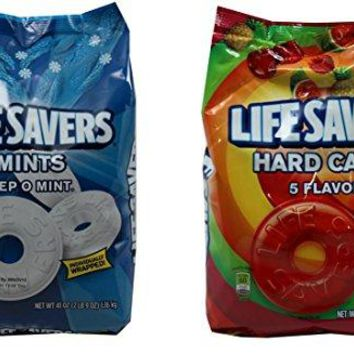 Life Savers Hard Candy, Individually Wrapped, Bundle Pack - Pep O Mint & 5 Flavors, 41oz Each bag, (Pack of 2)