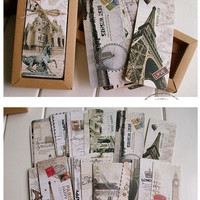 30pcs Different European Scenes Vintage France Paris Eiffel Tower Bookmark Set