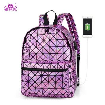 TZY 2018 Fashion Silver Hologram Laser Backpack USB Charging Women School Bag Girl PU Leather Holographic Backpack Multicolor