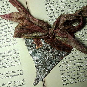 """Copper Heart Pendant with Pewter-look """"Lace"""""""
