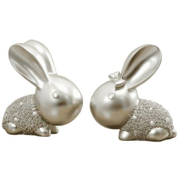 Rabbit Couple Home Furnishing Ornament Creative Birthday Girl Gift Wedding Room White Blue Gold Silver Lovely Statuette Figurine