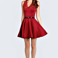 Nadine Scallop Lace Belted Skater Dress