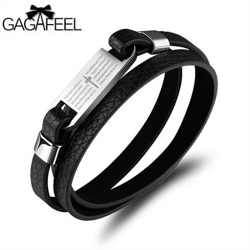 GAGAFEEL Vintage Cross Leather Bracelets Men Bracelet Laser Bangles Engrave Jewelry Stainless Steel Cowhide Watch Accessories