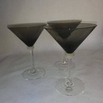 Black Martini Glasses With Frosted/Clear Stems
