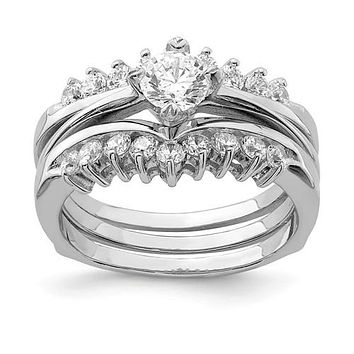Sterling Silver 3 Piece CZ Round Center Promise Wedding Ring Set
