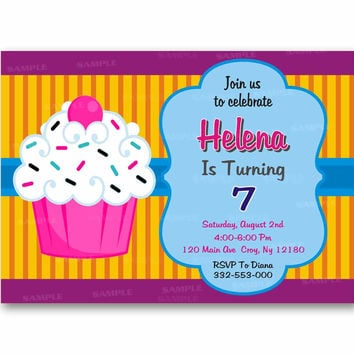 Cupcake Birthday Colorful Stripes Kids Birthday Invitation Party Design