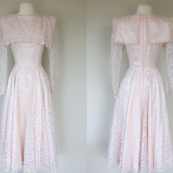 1980's Gunne Sax dress, pink lace dress w/ long sleeves & big sailor style portrait collar. fit and flare formal bridal dress, Small, size 6