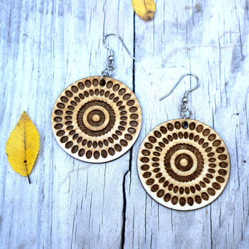 Swirl Mandala Wood Earrings