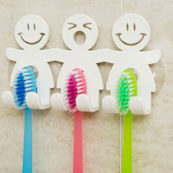 Hot!1pcs Suction Hooks 5 Position Tooth Brush Holder Bathroom Sets Cute Smile Cartoon Sucker Toothbrush Holder