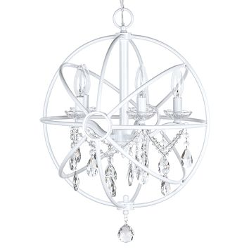 5 Light Modern Crystal Orb Plug-In Chandelier (White)