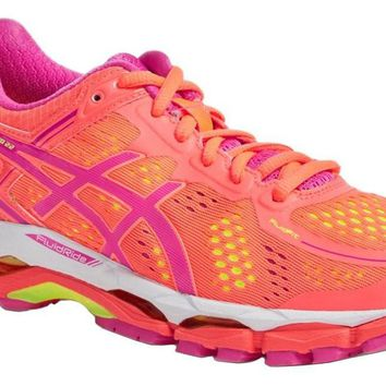 asics women s gel kayano 22 running shoe coral pink glow flash yellow 6 5 b m us  number 1