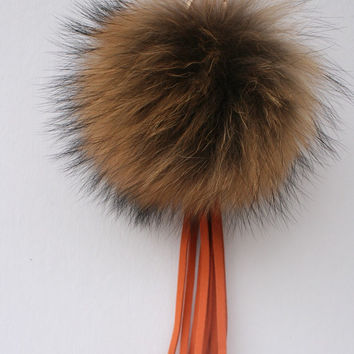 New bag tassel charm Raccoon Fur Pom Pom bag pendant with orange leather tassel