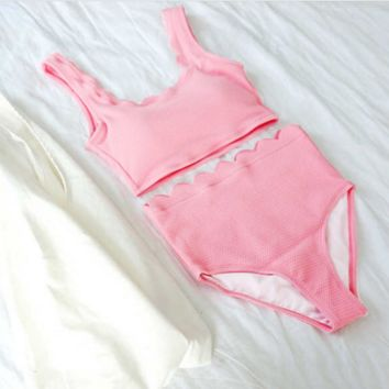 Sexy pure pink vest type scalloped two piece bikini high waist