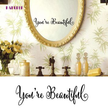 KAKUDER You Are Beautiful No Soliciting Wall Sticker 28.5*6.75cm Vinyl Window Bathroom Mirror Sticker 1PC